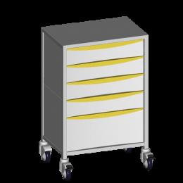 Chariot médical avec 5 tiroirs Promotal (1 plateau) - epoxy