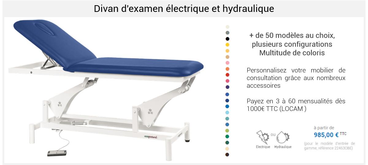 Divan d'examen électrique et hydraulique